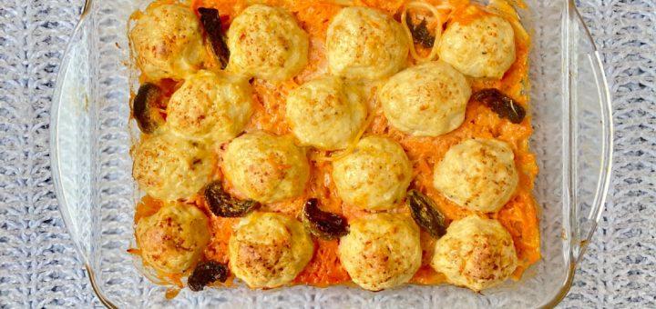 Спагетти с куриными тефтелями в одной посуде
