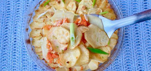 Картофельный гратен с лаймом и кокосом