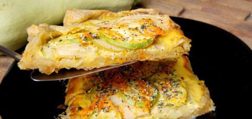 Слоеный пирог из кабачков и яблок
